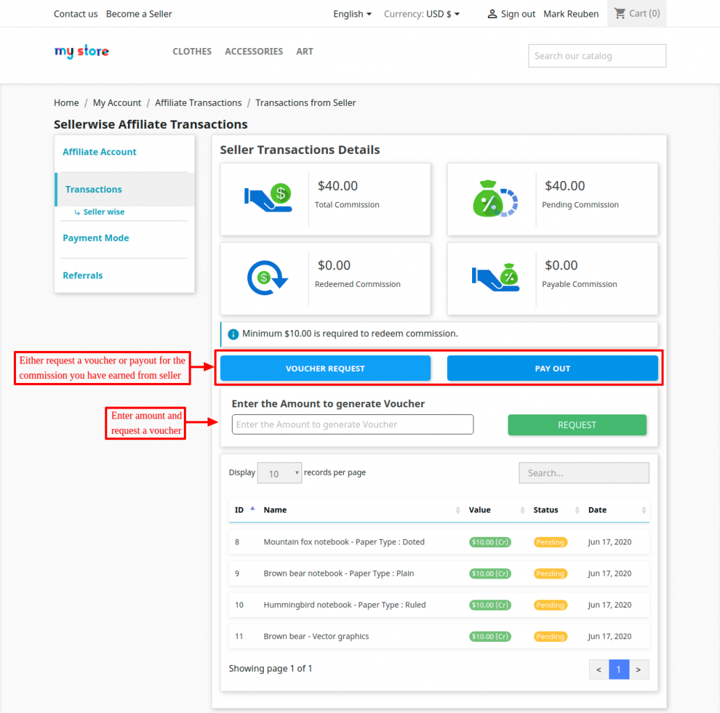 Transaction history of an affiliate for sellers
