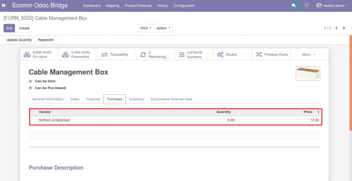 To view the supplier associated with the product at Odoo end in POB: Extension Export Supplier