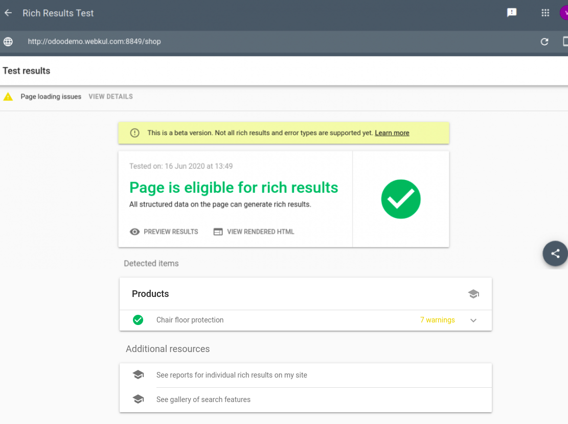 Product URL is Eligible or not for rich snippet in Odoo.