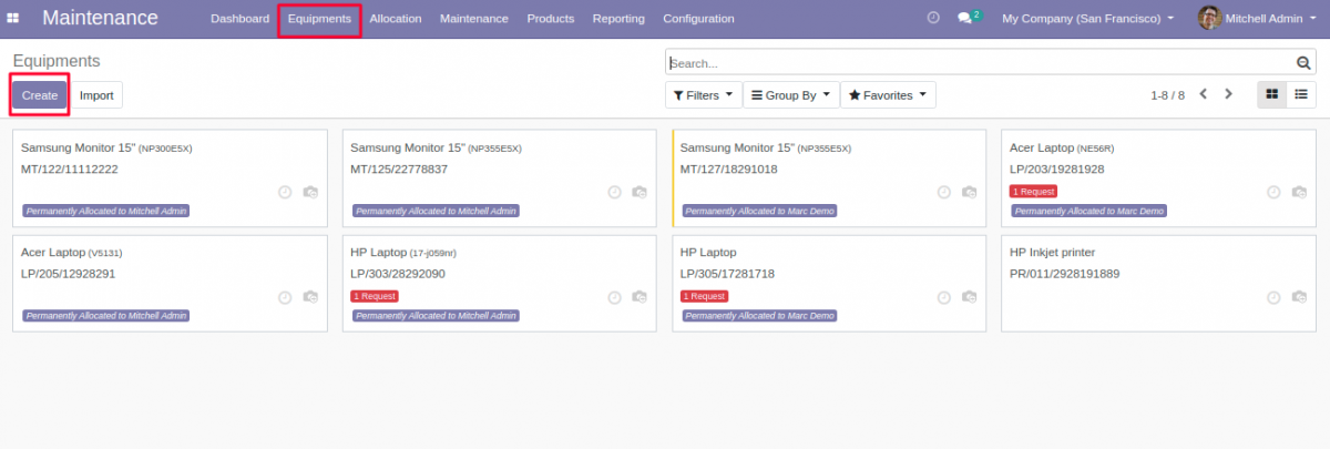 Navigate to Equipment tab for Equipment creation in Odoo