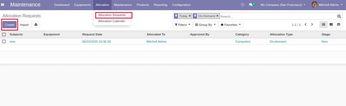 Create allocation request for Equipment Allocation in Odoo.