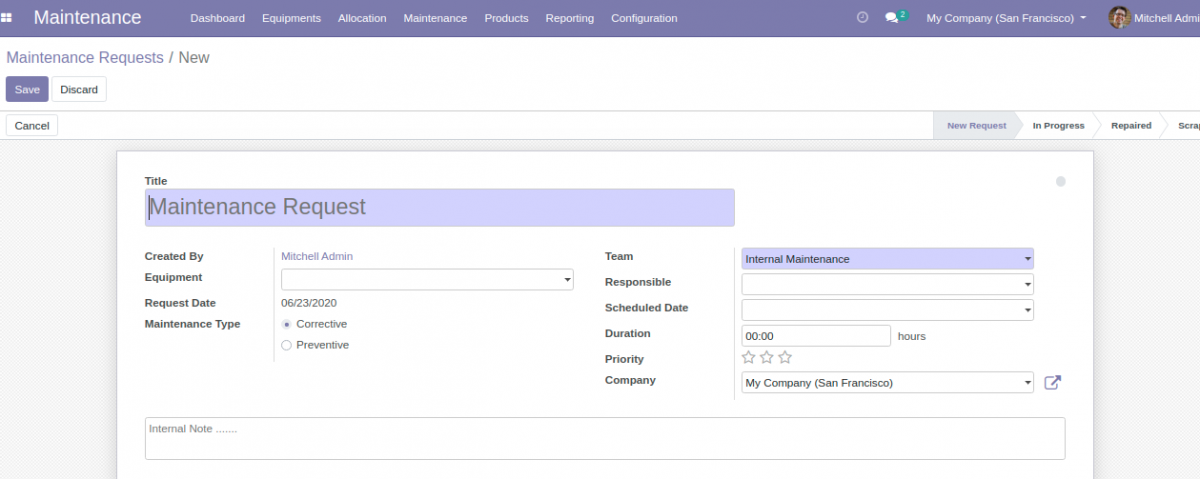 Create new Maintenance Request for Equipment Allocation in Odoo.