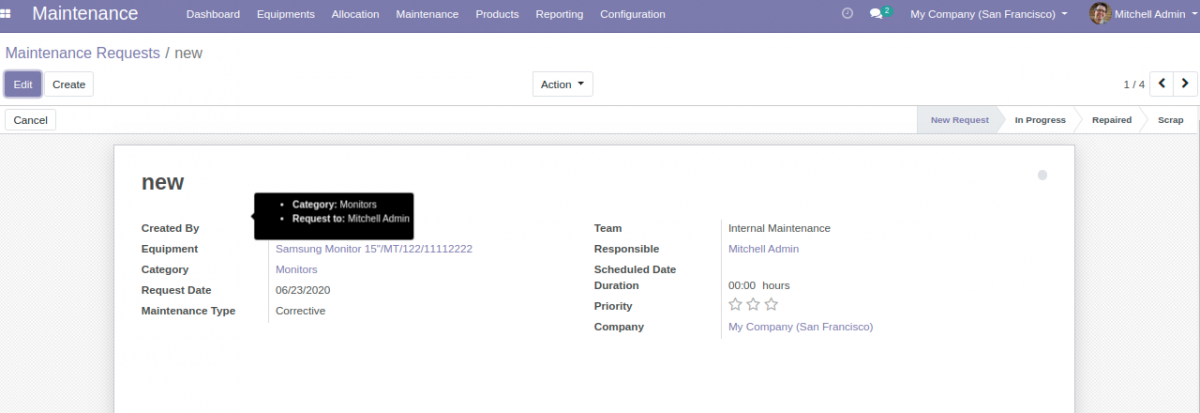 Edit Maintenance Request stage for Equipment Allocation in Odoo