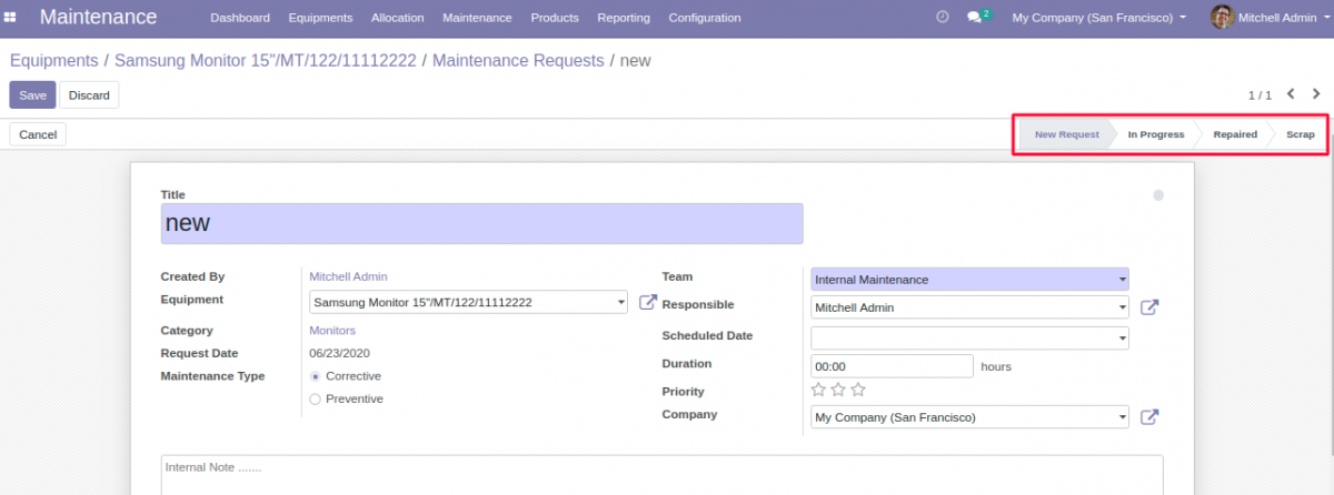 Stages of Maintenance Request in Equipment Allocation in Odoo