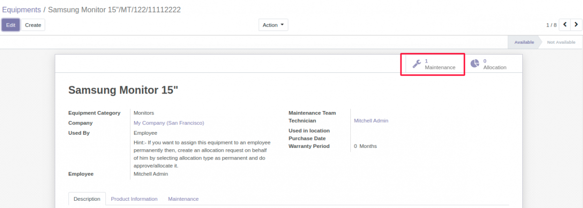 Maintenance Request reflected in Equipment in Odoo