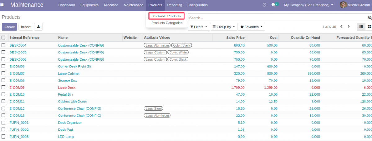 Create new stockable product in Equipment Allocation in Odoo