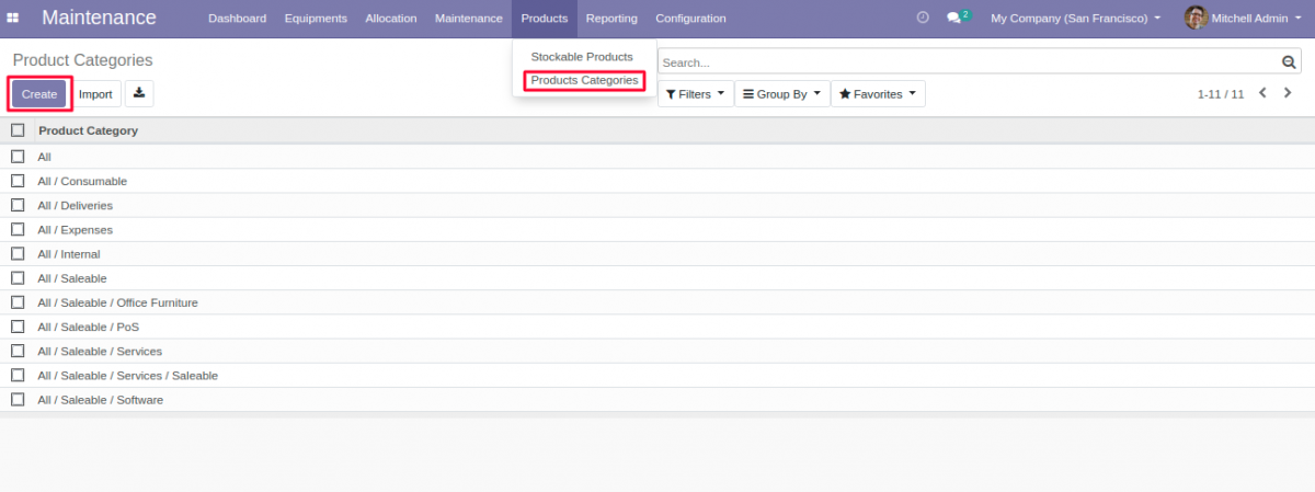 Create Product Category for Equipment Allocation in Odoo