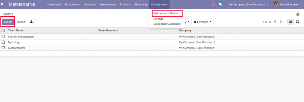 Create Maintenance teams for Equipment Allocation in Odoo