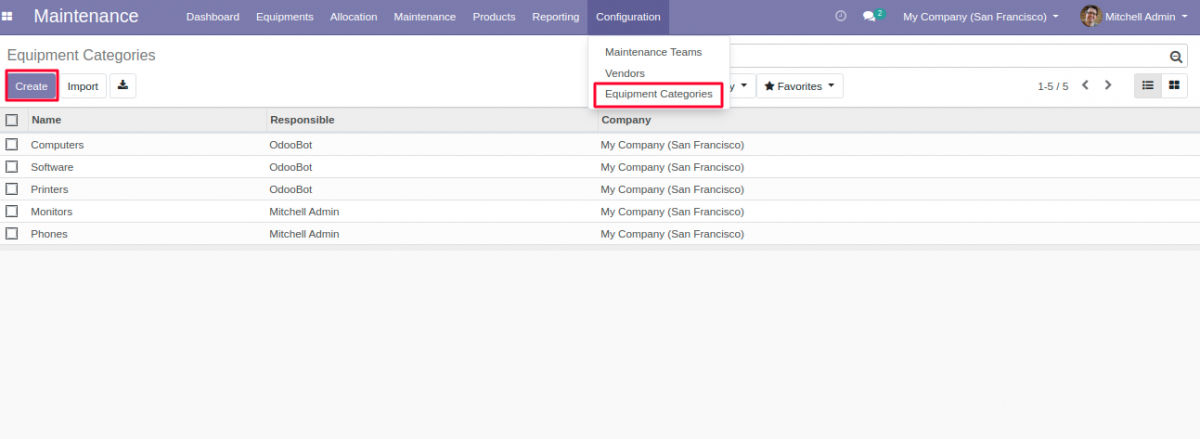 Equipment Category for Equipment Allocation in Odoo