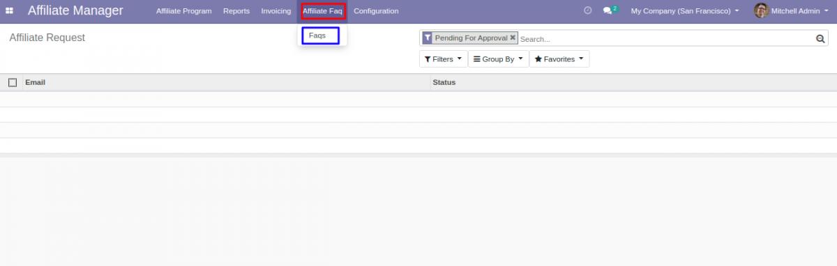 Navigate to Affiliate FAQ's in Odoo Backend.