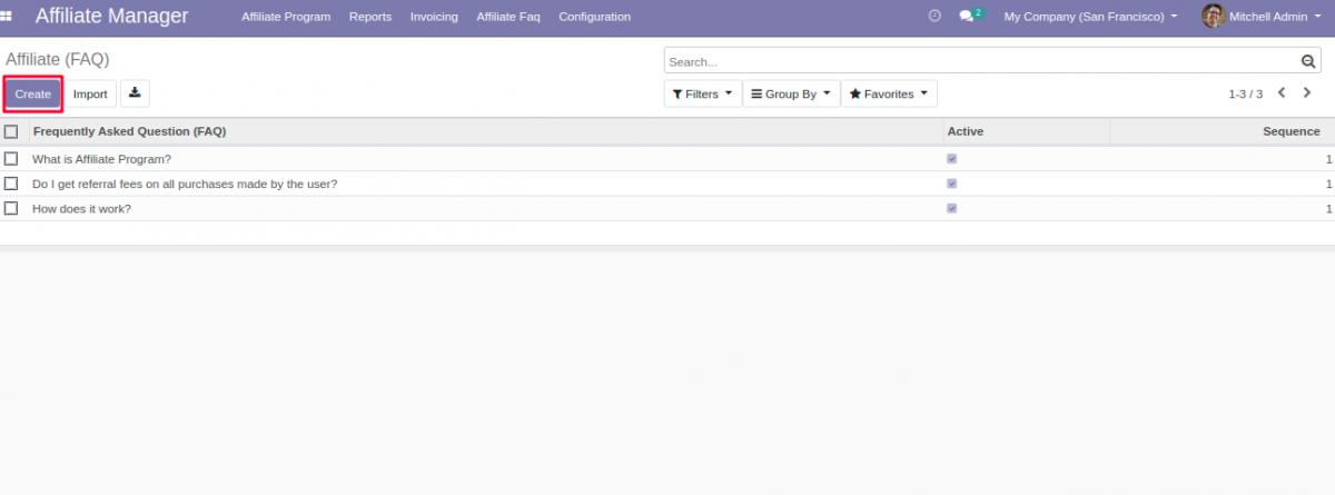Create new Affiliate FAQ's in Odoo backend.