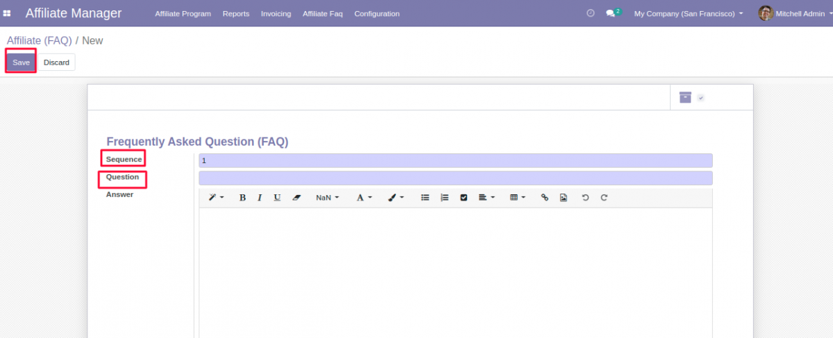 Save the new Affiliate FAQ in Odoo.