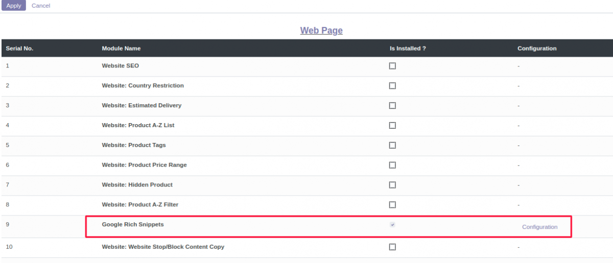 Tick mark the checkbox for Google Rich Snippet in Odoo.