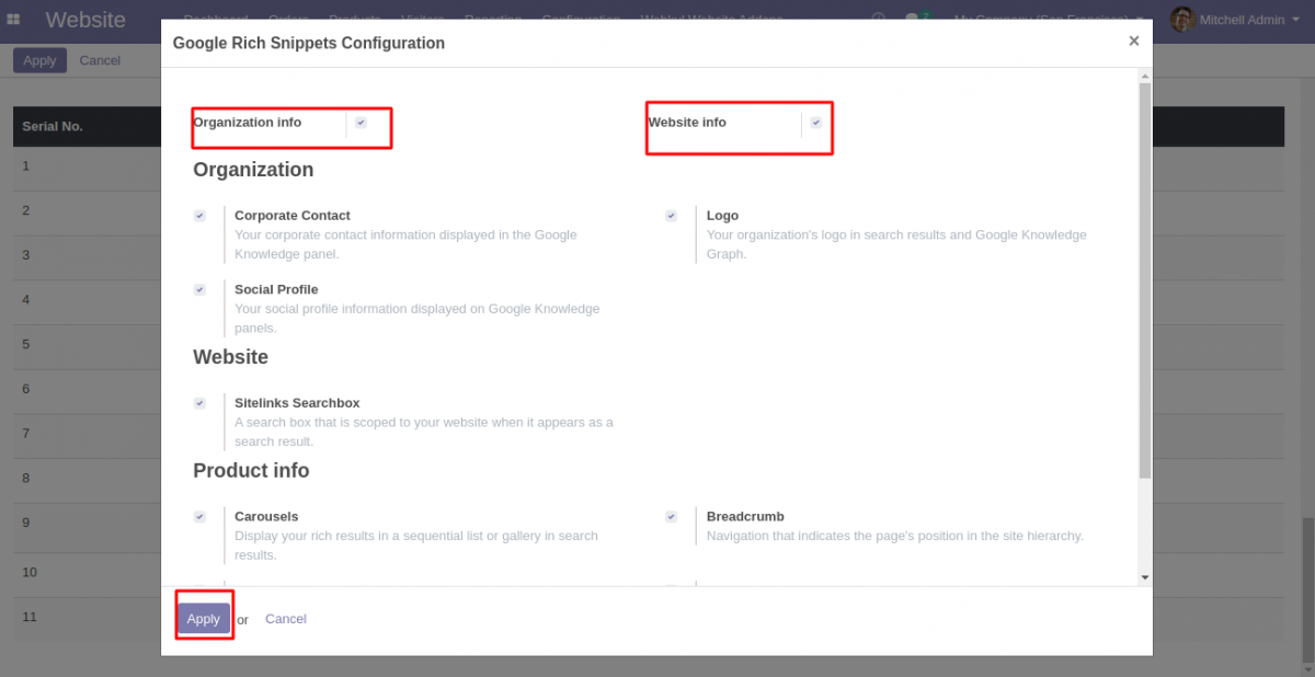 Configuration settings for Google Rich Snippet in Odoo