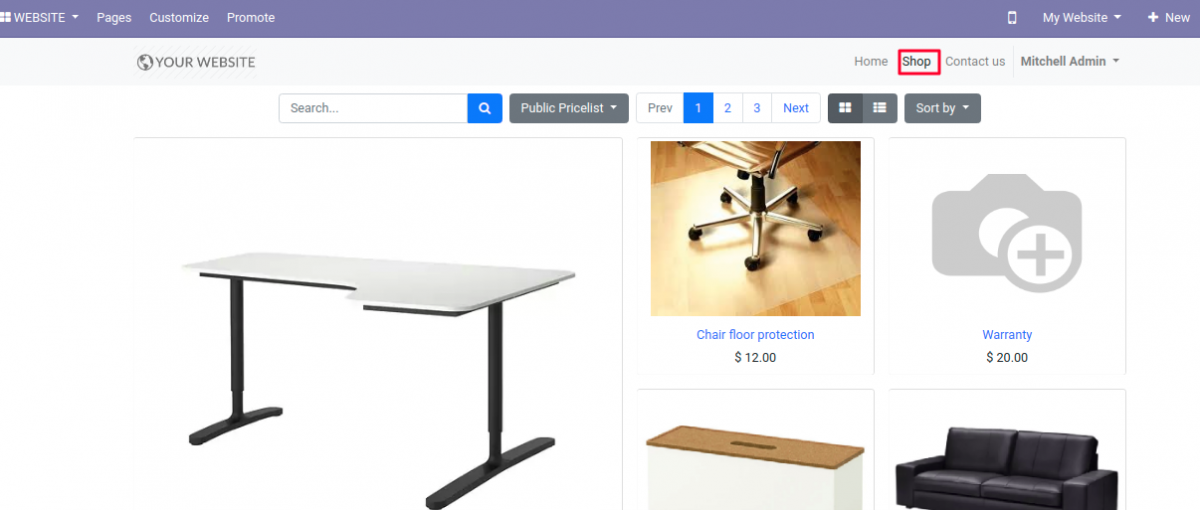 Copy Shop page link for verification of Google Rich Snippet in Odoo.