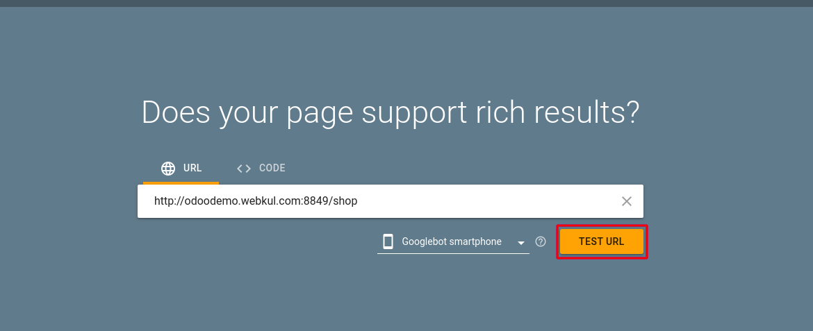 Test URL for google rich snippet in Odoo