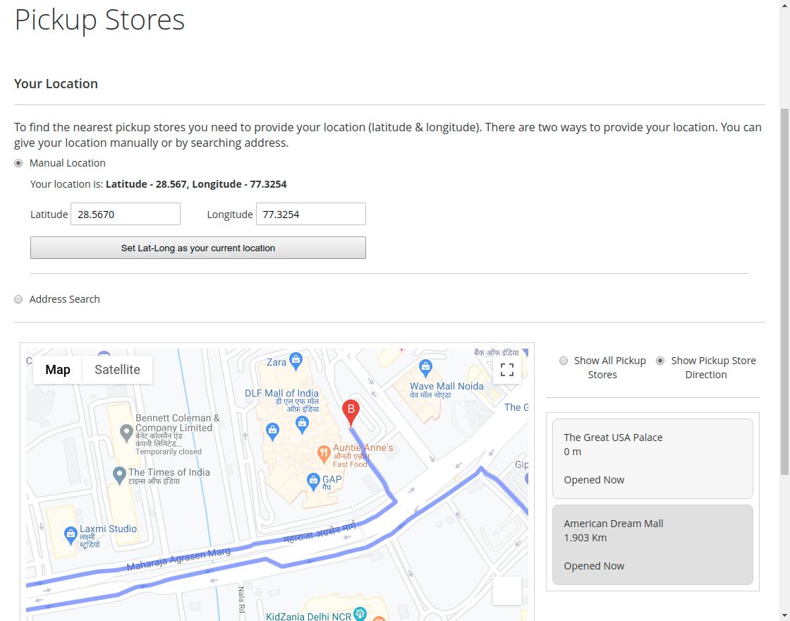 Magento 2 Store Pickup- map