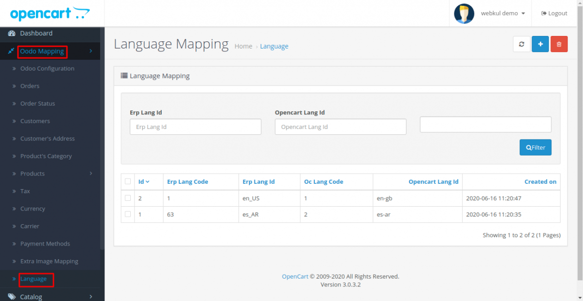 Language Mapping at Opencart end in Odoo Bridge for Opencart Multi Language Extension
