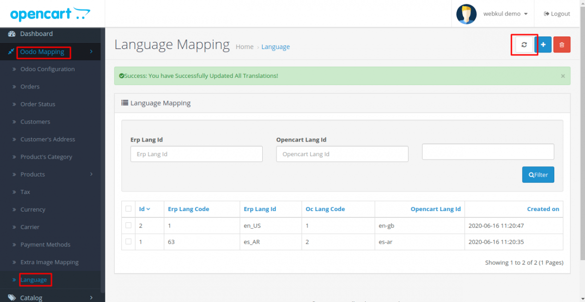 Product translation export from Opencart to Odoo end in Odoo Bridge for Opencart Multi Language Extension