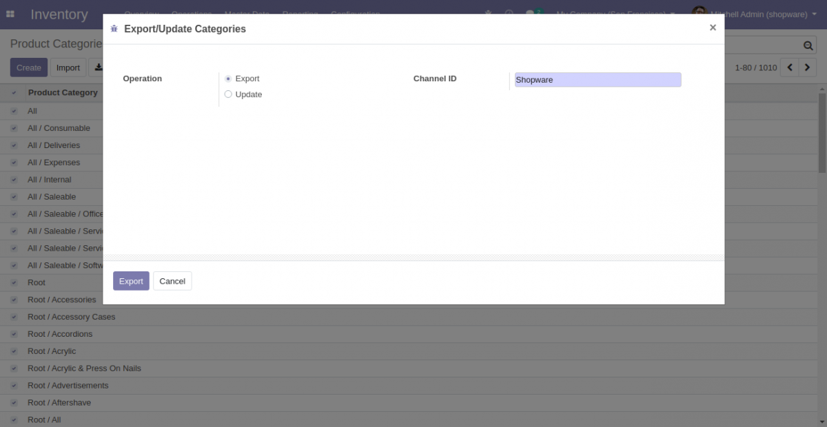 Export selected Category from Odoo to Shopware