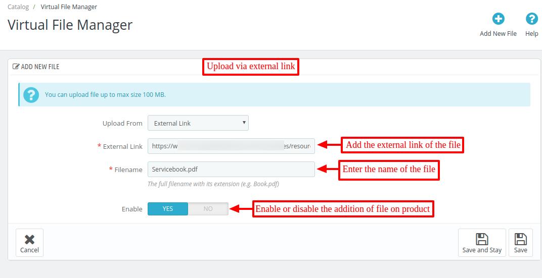 add new file via external link