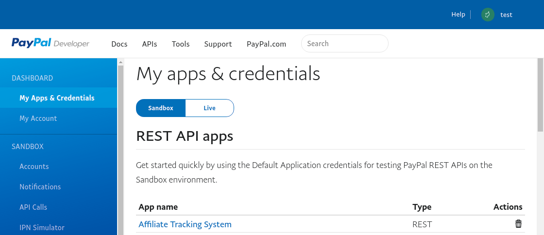 PayPal - My-apps-credentials