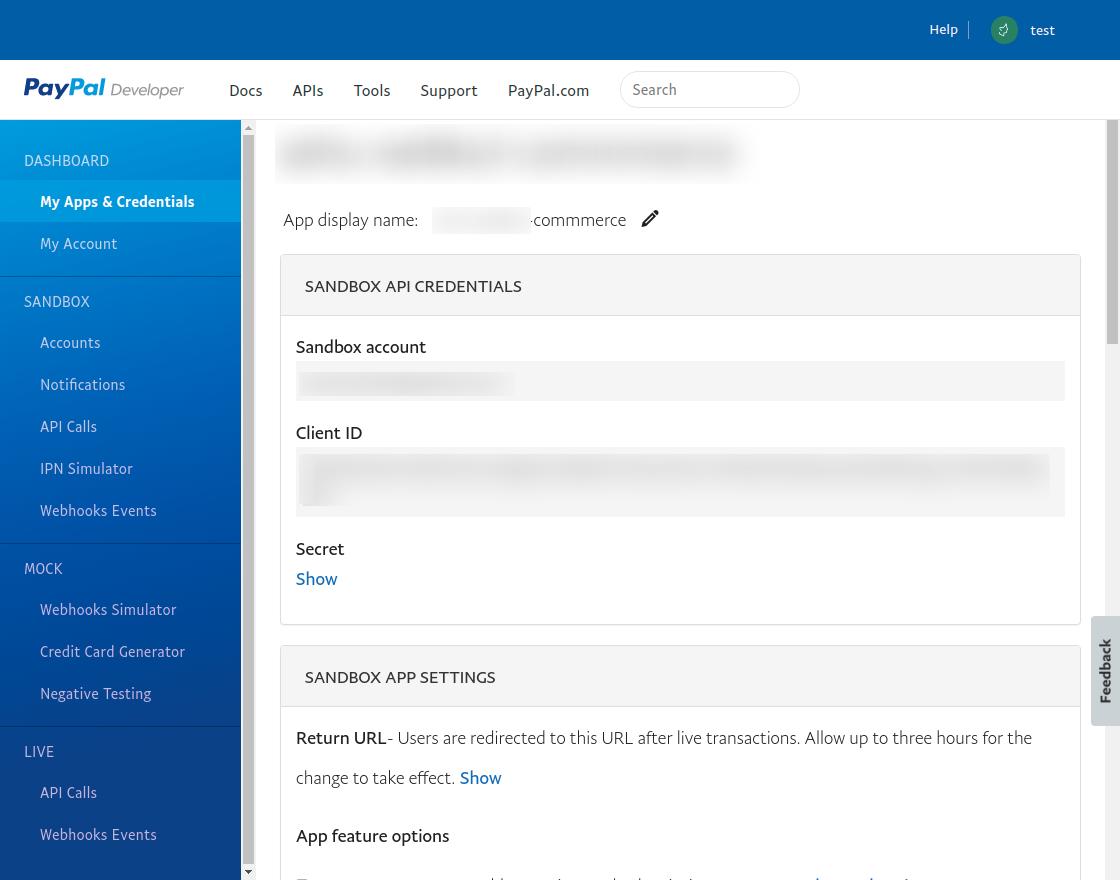 PayPal - SANDBOX-API-CREDENTIALS