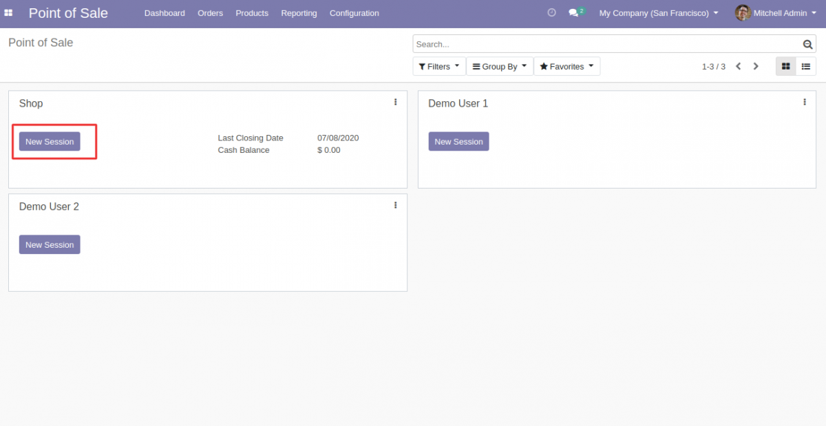 Start a pos session to use Odoo POS rounding off amount.
