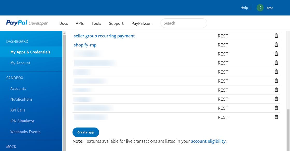 PayPal - live_create_app