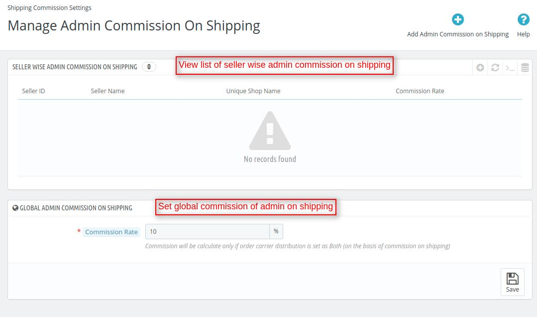 Admin commission on shipping