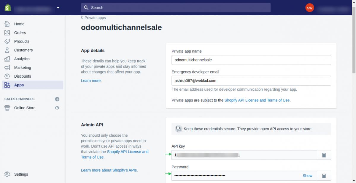 Shopify API Key and Password