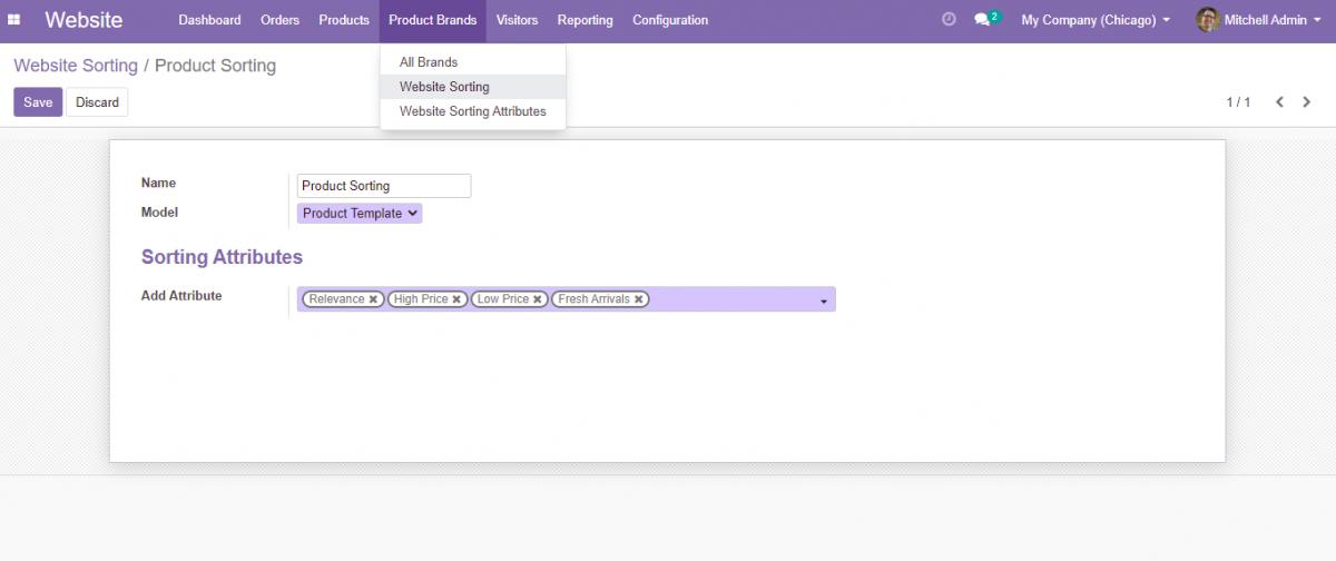 Create Website Sorting