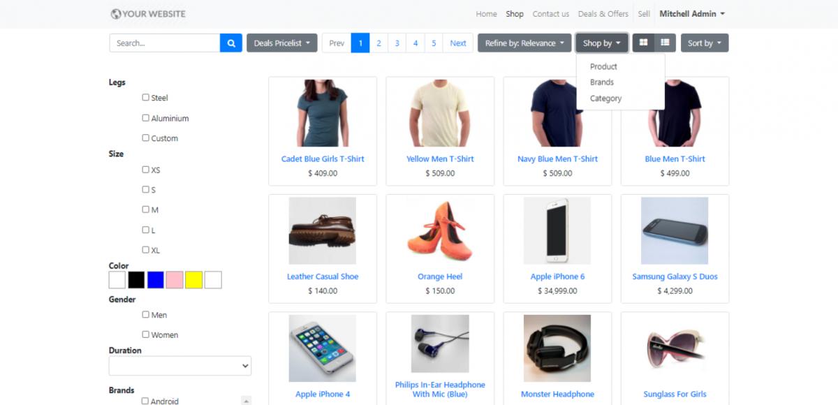 Shop by option in Odoo Website