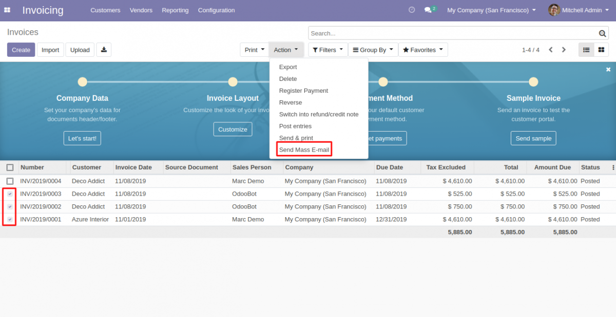 Odoo Mass Invoice: Send By Mail