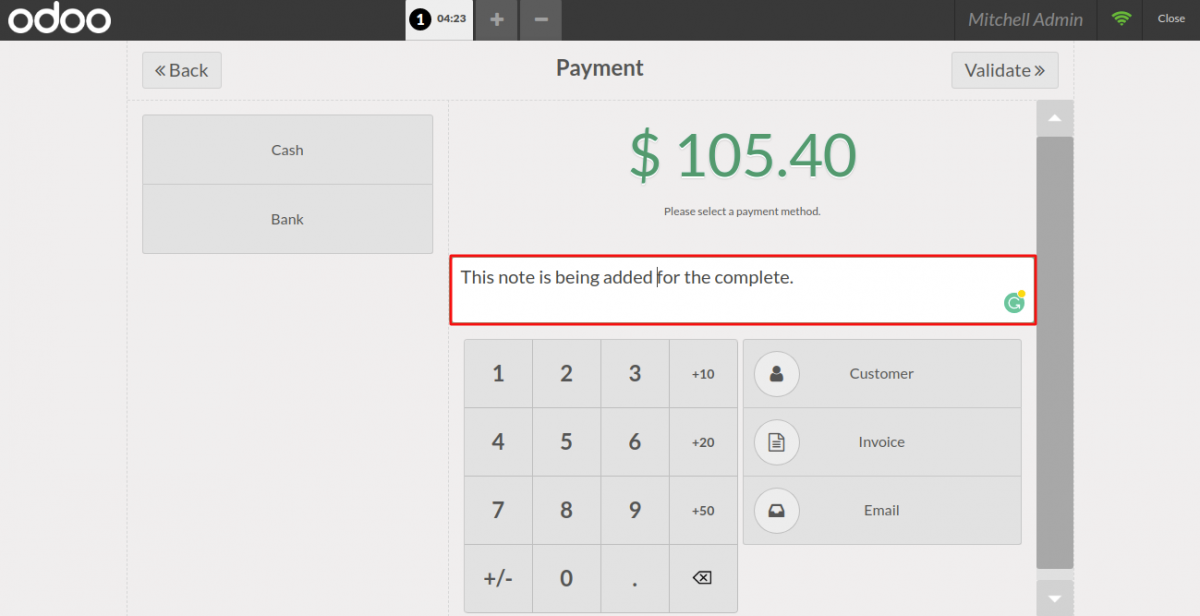 The POS user can add notes to the complete order.