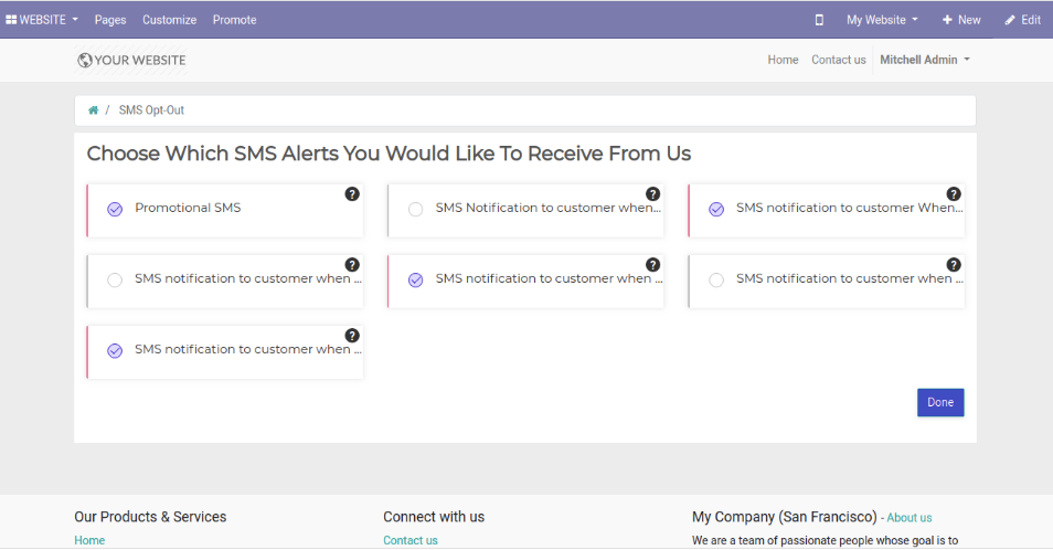 Odoo SMS Opt-Out notifications