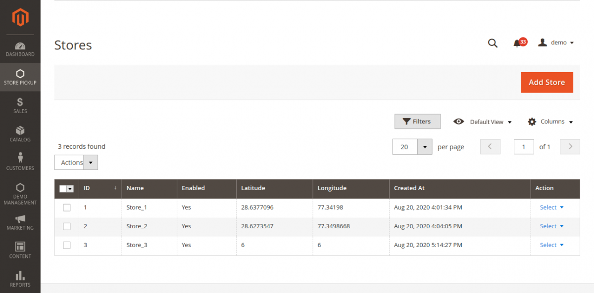 webkul-magento2-store-pickup-admin-end-manage-stores-listing