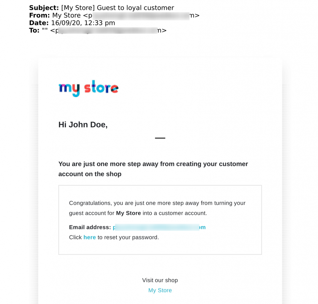 Guest login Mail with link to create a customer account