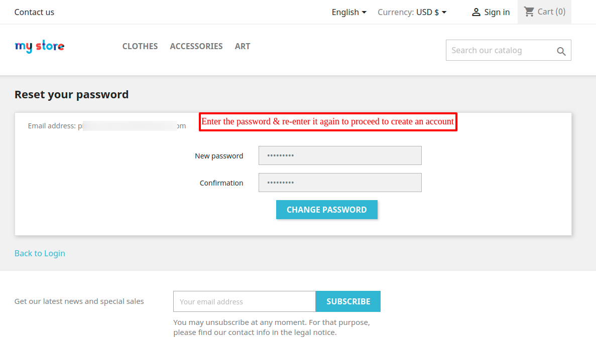 Set the password to login guest user as customer