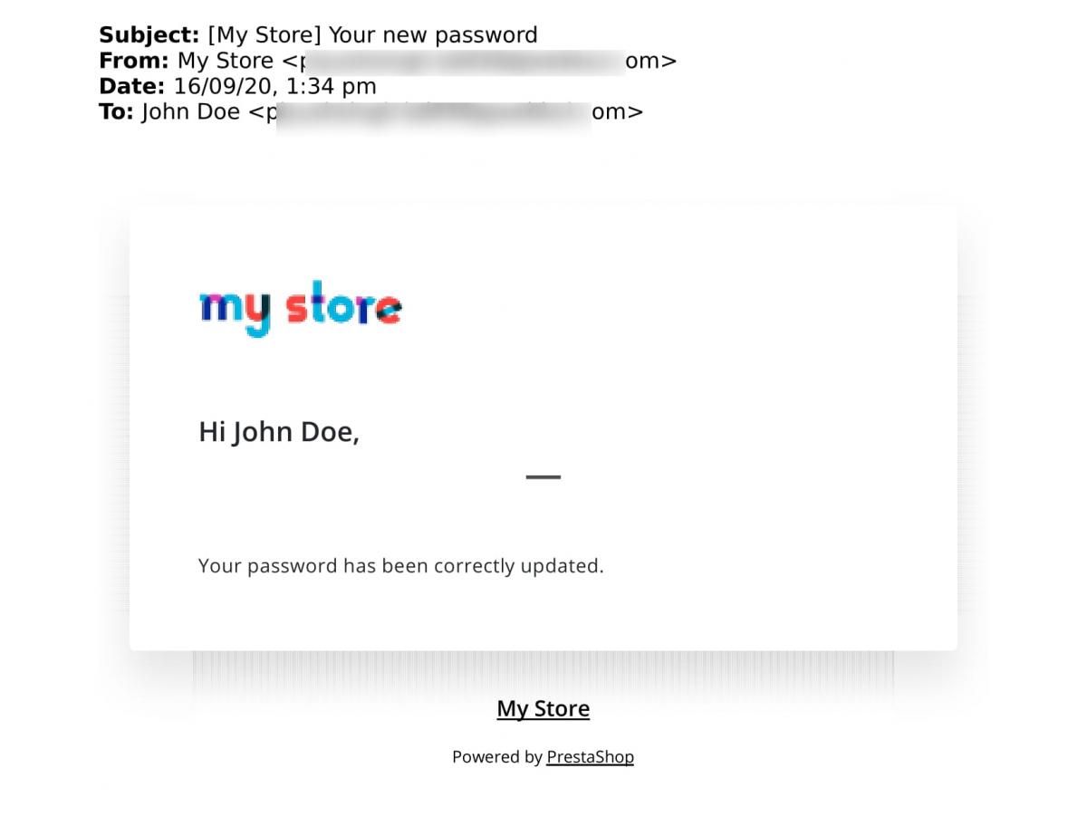mail regarding password update