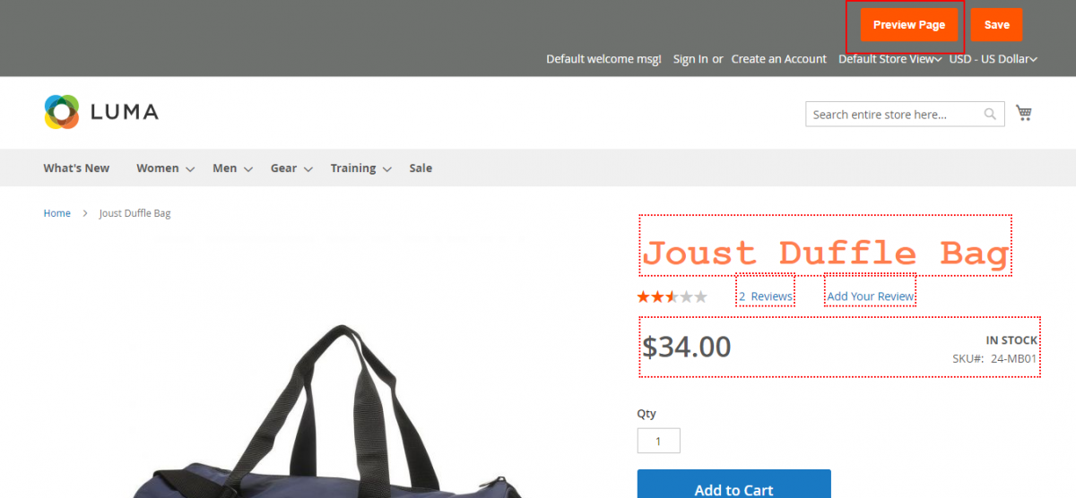 Magento 2 A/B Testing Extension Joust-Duffle-Bag-click-preview-page