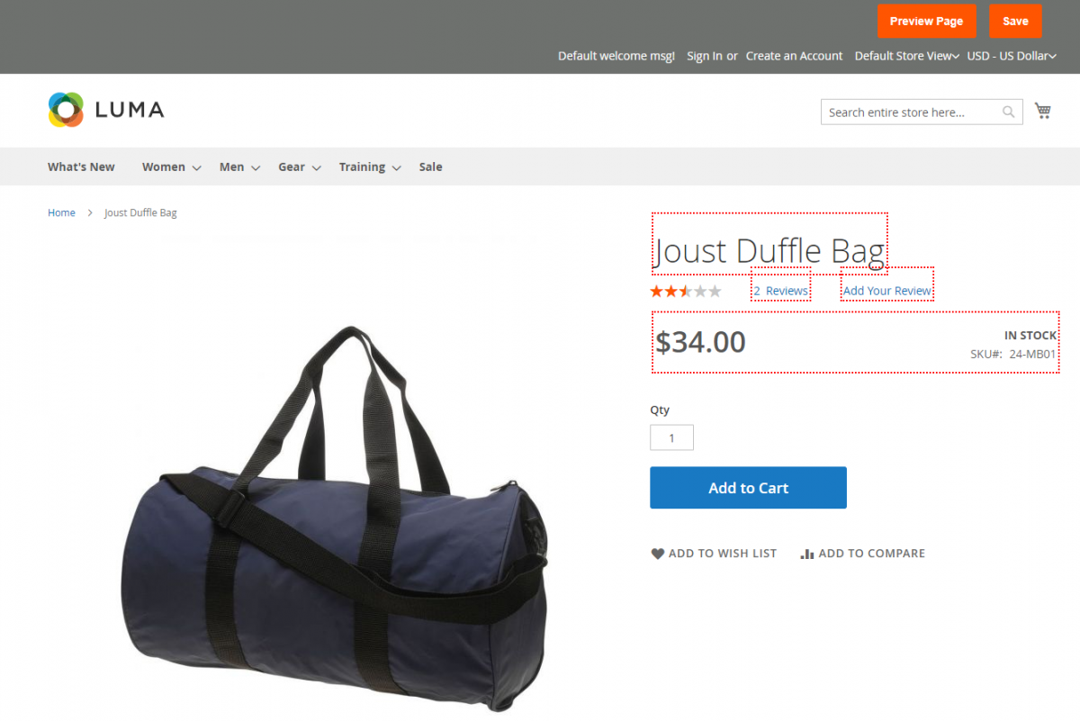 Magento 2 A/B Testing Extension Joust-Duffle-Bag-dotted-box