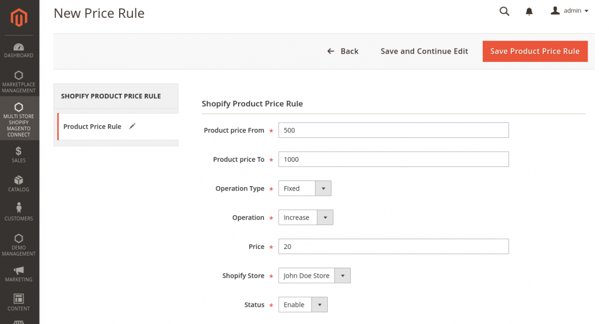 Magento 2 Marketplace Shopify Connector- New-price-rule