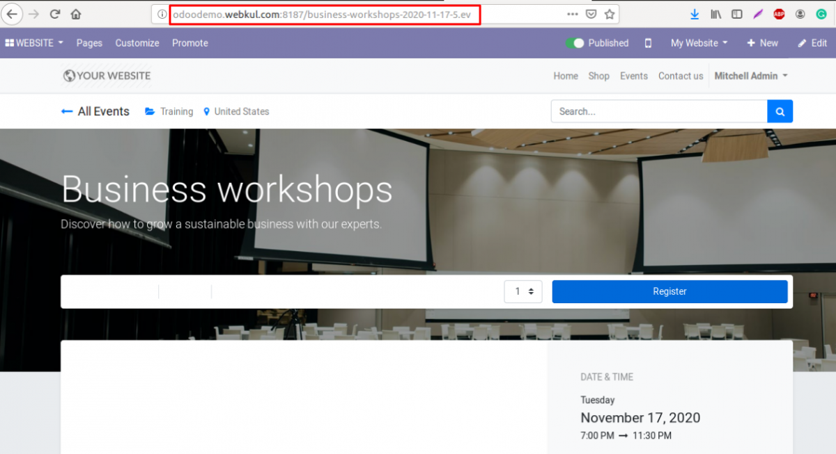 Odoo SEO-URL Redirect/Rewrite For Event settings 5