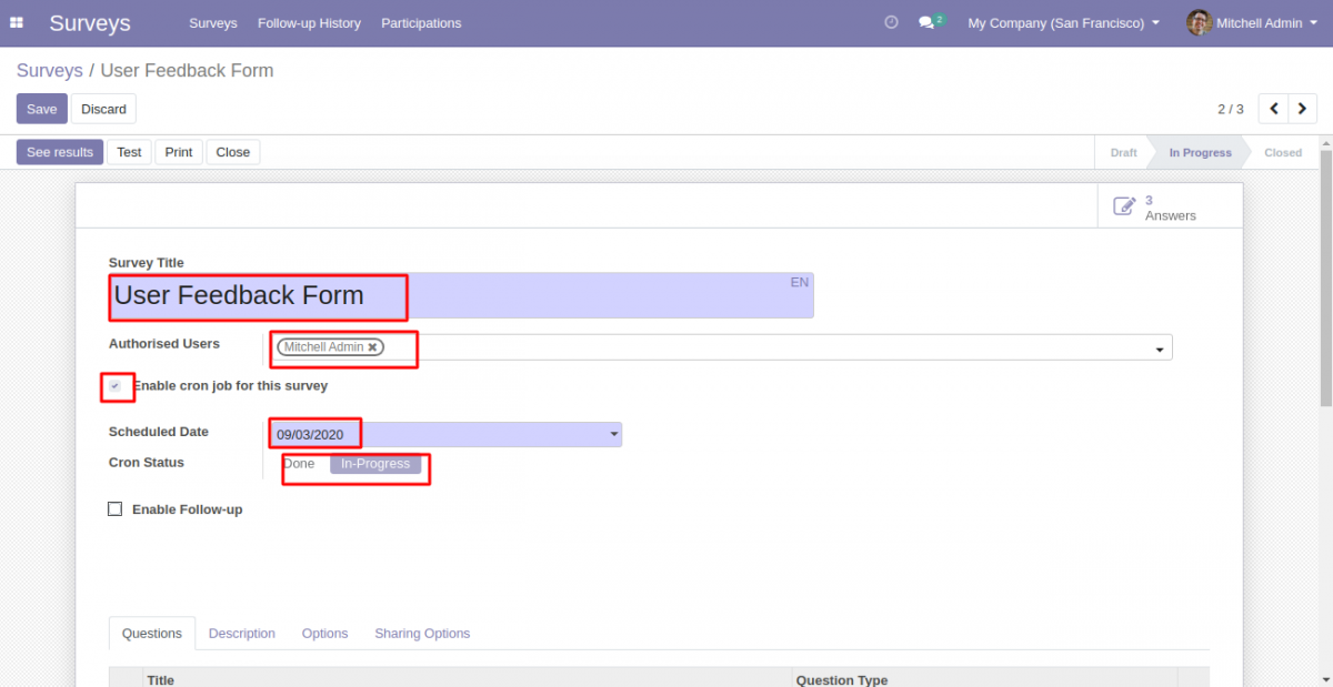 Odoo Scheduled Survey With Follow-Up