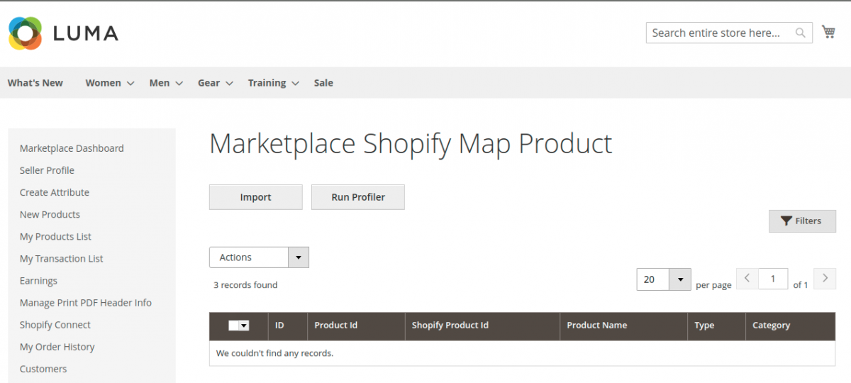 Magento 2 Marketplace Shopify Connector- map-products-seller-end