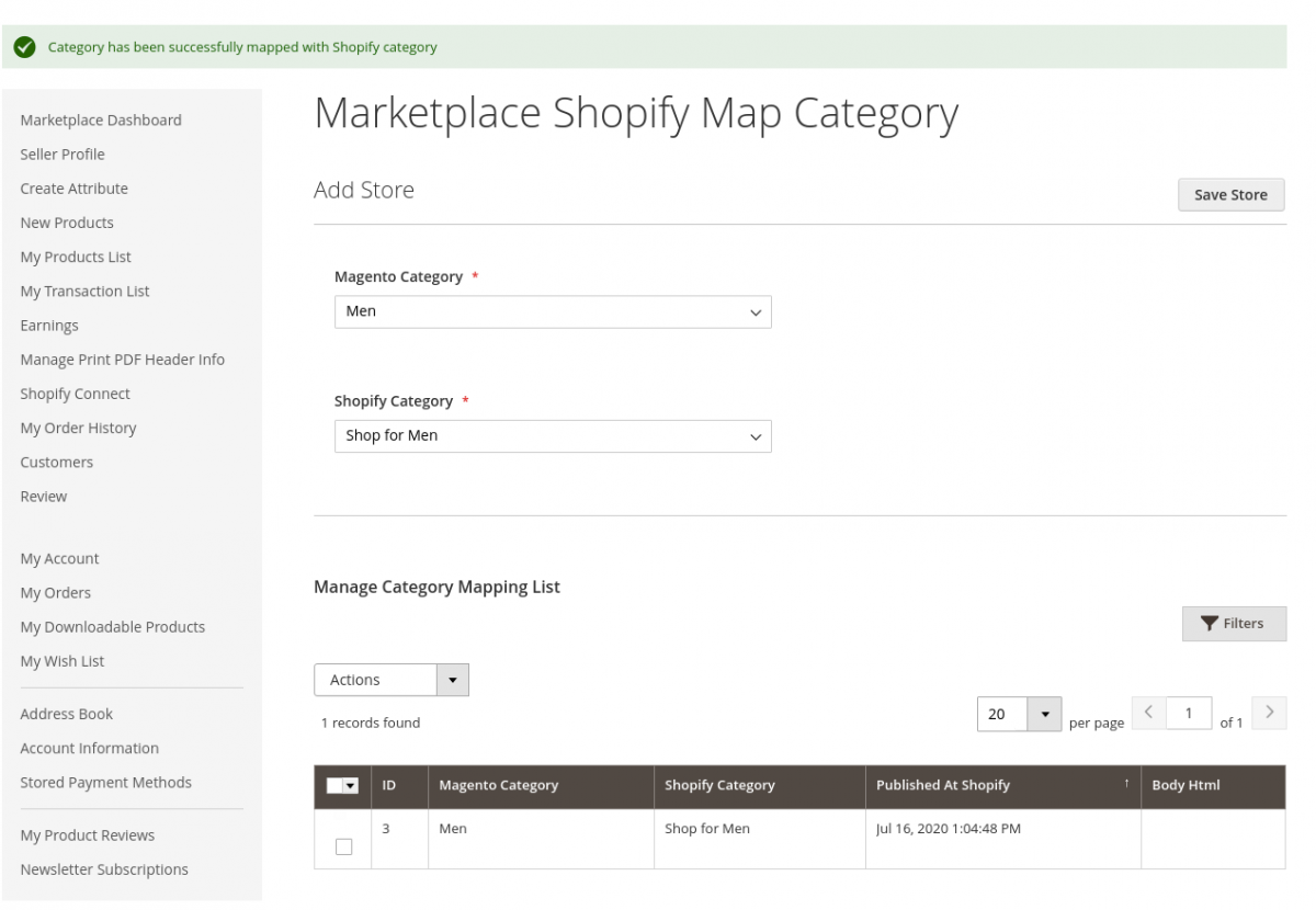 Magento 2 Marketplace Shopify Connector-map-shopify-category-seller-end