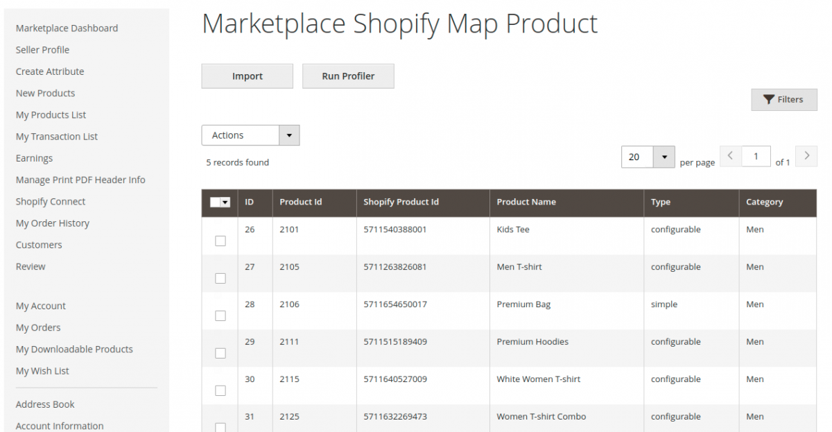 Magento 2 Marketplace Shopify Connector- mapped-products