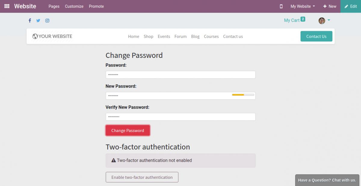change your account password in Odoo 14