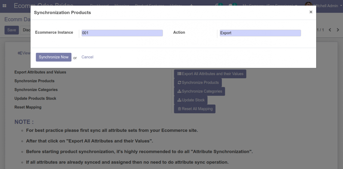 Bulk Sync Products from Odoo to Prestashop
